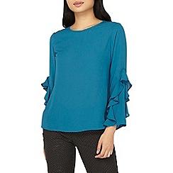 Dorothy Perkins - Petite teal ruffle sleeves blouse