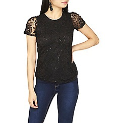 Dorothy Perkins - Petite black sequin ruched sleeves t-shirt
