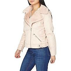 Dorothy Perkins - Petite pink faux shearling jacket