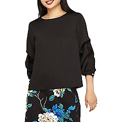 Dorothy Perkins - Petite black tuck detail sleeves blouse
