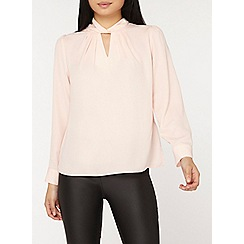 Dorothy Perkins - Petite blush twist neck top