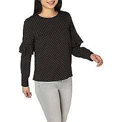 Dorothy Perkins - Petite spot ruffle sleeves blouse