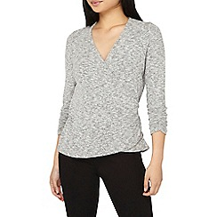Dorothy Perkins - Petite grey ruched sleeves wrap top