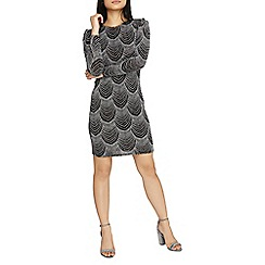 Dorothy Perkins - Petite silver puff sleeves bodycon dress