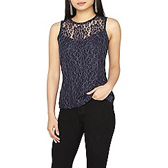 Dorothy Perkins - Petite navy shimmer lace shell top