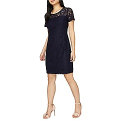 Dorothy Perkins - Petite navy lace trim shift dress