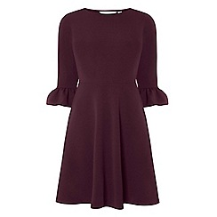 Dorothy Perkins - Petite purple flute sleeves fit and flare dress