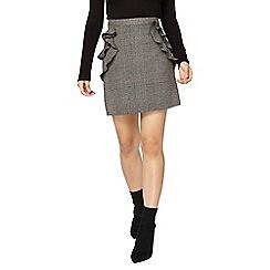 Dorothy Perkins - Petite grey check ruffle skirt