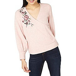 Dorothy Perkins - Petite blush floral embroidered wrap top