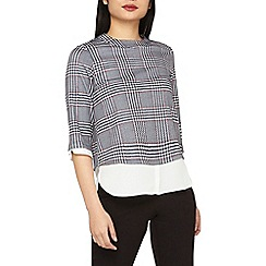 Dorothy Perkins - Petite navy and red checked 2-in-1 top