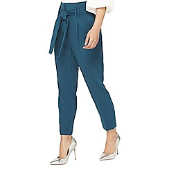 Dorothy Perkins - Petite teal paper bag tie waist trousers