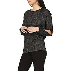 Dorothy Perkins - Petite charcoal bow sleeve top