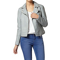 Dorothy Perkins - Petite blue textured biker jacket