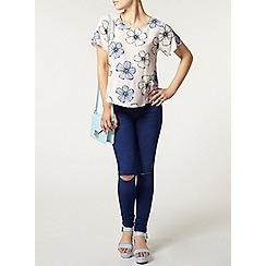 Dorothy Perkins - Petite floral dip t-shirt