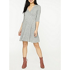 Dorothy Perkins - Petite grey wrap fit and flare dress