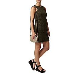 Dorothy Perkins - Petite khaki jacquard cut out dress