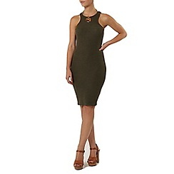 Dorothy Perkins - Petite khaki rib tube dress