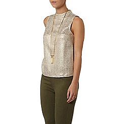 Dorothy Perkins - Petite gold high neck top
