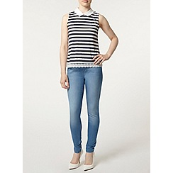 Dorothy Perkins - Petite navy and white stripe sleeveless 2 in 1 lace top