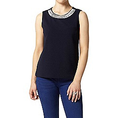 Dorothy Perkins - Petite navy embellished top