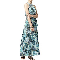 Dorothy Perkins - Petite blue and yellow paisley printed maxi dress