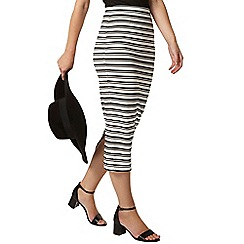Dorothy Perkins - Petite black and white stripe high waisted midi skirt