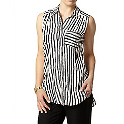 Dorothy Perkins - Petite black and white stripe shirt