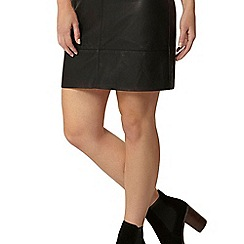 Dorothy Perkins - Petite black pu panel skirt
