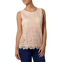 Dorothy Perkins - Petite blush crochet shell top