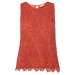 Dorothy Perkins - Petite rust crochet shell top