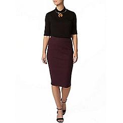 Dorothy Perkins - Petite plum rib tube skirt