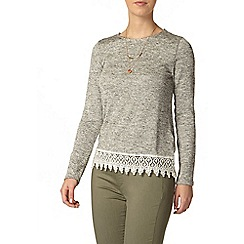 Dorothy Perkins - Petite grey marl lace top