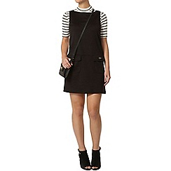 Dorothy Perkins - Petite black ponte pinafore dress