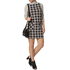Dorothy Perkins - Petite red check pocket pinafore dress