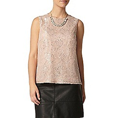 Dorothy Perkins - Petite blush metallic lace top