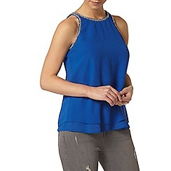Dorothy Perkins - Petite embellished top in blue