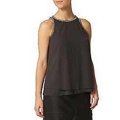 Dorothy Perkins - Petite embellished top in grey