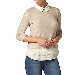 Dorothy Perkins - Petite oatmeal brushed 2-in-1 top