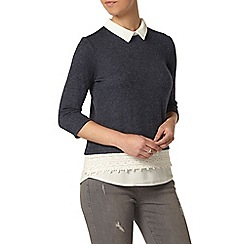 Dorothy Perkins - Petite navy brushed 2-in-1 top
