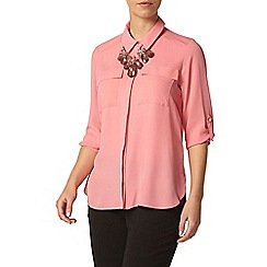 Dorothy Perkins - Petite pink roll sleeve shirt