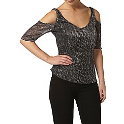 Dorothy Perkins - Petite silver cut away top