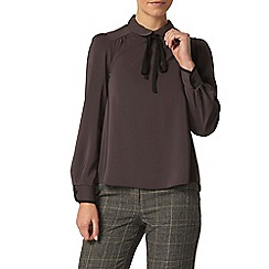 Dorothy Perkins - Petite grey tie neck shirt