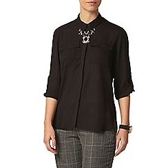 Dorothy Perkins - Petite black roll sleeve shirt