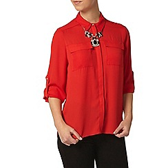 Dorothy Perkins - Petite red roll sleeve shirt