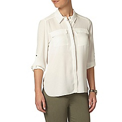 Dorothy Perkins - Petite ivory roll sleeve shirt