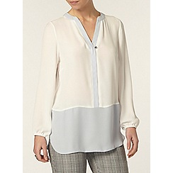 Dorothy Perkins - Petite ivory and grey blouse