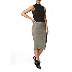 Dorothy Perkins - Petite grey ribbed skirt