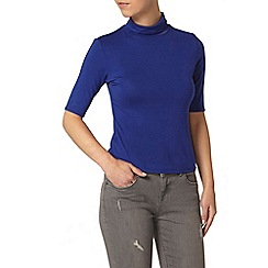 Dorothy Perkins - Petite blue roll neck top