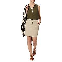 Dorothy Perkins - Petite stone poplin skirt