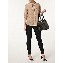 Dorothy Perkins - Petite tan spot pocket shirt